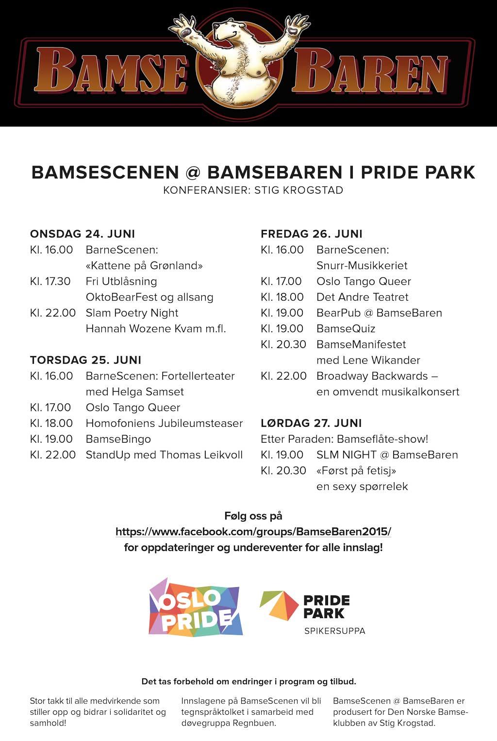 Program BamseScenen @ BamseBaren i Pride Park