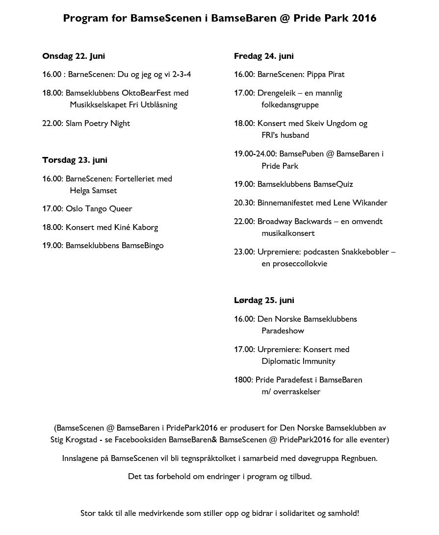 Program Bamsescenen 2016