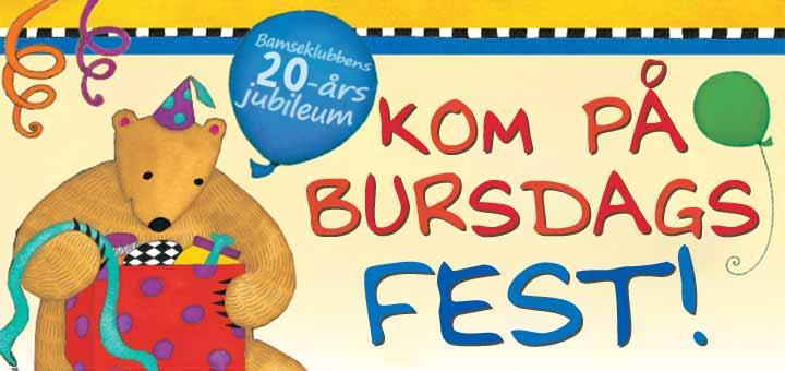 Invitasjonstekst til bamseklubbens bursdagsfest med tenget bilde av en banmse med ballonger